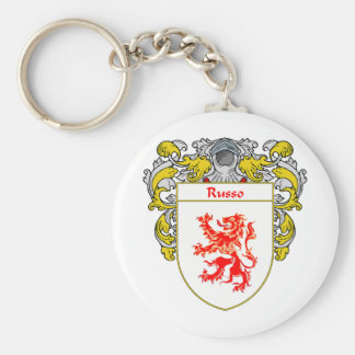 Russo Coat of Arms (Mantled) Basic Round Button Keychain