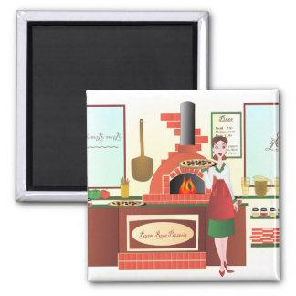 Russo Rosa Pizzeria 2 Inch Square Magnet