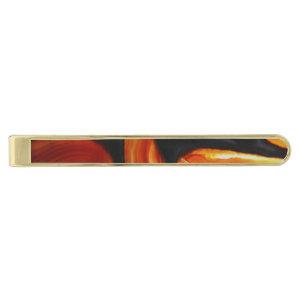Rust Agate Gold Finish Tie Bar