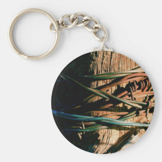 Rust and Blue Barbed Wire Keychain