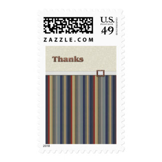 Rust and Blue Stripes with Copper Buckle Thanks Postage Stamp