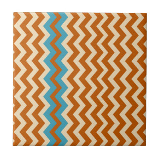 Rust and Cream Zigzags With Blue Border Ceramic Tile