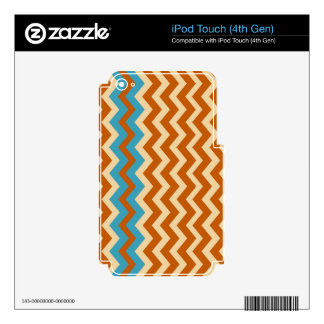 Rust and Cream Zigzags With Blue Border iPod Touch 4G Decals