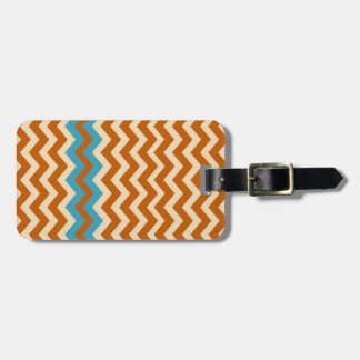 Rust and Cream Zigzags With Blue Border Luggage Tag