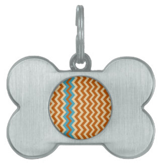 Rust and Cream Zigzags With Blue Border Pet ID Tag