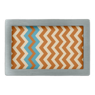 Rust and Cream Zigzags With Blue Border Rectangular Belt Buckles