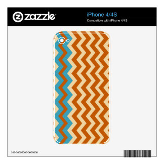Rust and Cream Zigzags With Blue Border Skins For iPhone 4S
