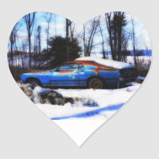 Rust and Snoiw Heart Sticker