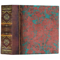 Rust and Turquoise Antique Vintage Book 3 Ring Binder
