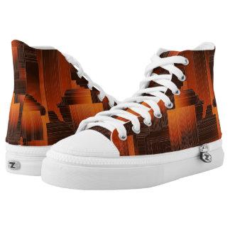 Rust Art Deco High-Top Sneakers