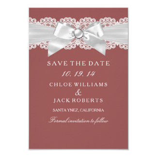 Rust Brown Damask & Pearl Bow Save The Date Card