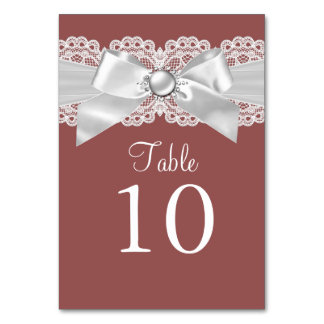 Rust Brown & Pearl Bow Table Number Card