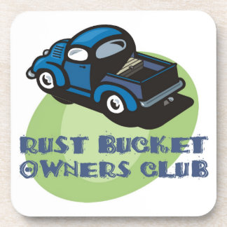 Rust bucket owners club gift, an old blue truck drink coaster