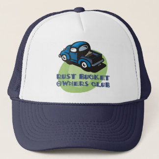 Rust bucket owners club gift, an old blue truck trucker hat