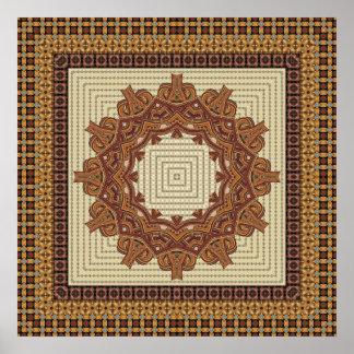 Rust Faux Knit Framed Mandala Poster