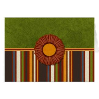 Rust Flower on Fall Stripes Card