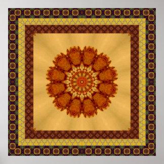 Rust Framed Textured Mandala Poster