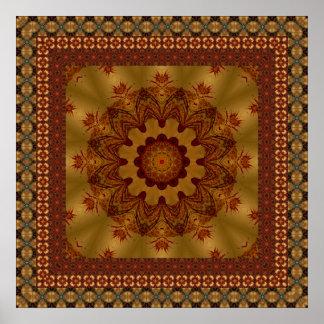Rust Geometric Framed Mandala Poster