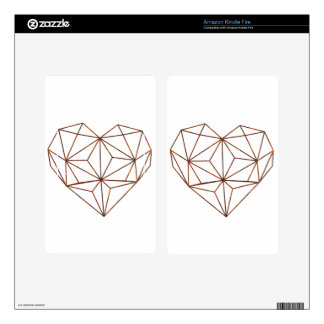 rust-geometric heart design skins for kindle fire