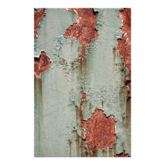 Rust Green Wall Peeling Paint Background Stationery