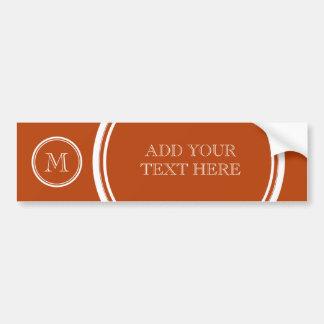 Rust High End Colored Monogram Initial Bumper Sticker