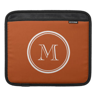 Rust High End Colored Monogram Initial Sleeves For iPads
