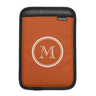 Rust High End Colored Monogram Initial iPad Mini Sleeve