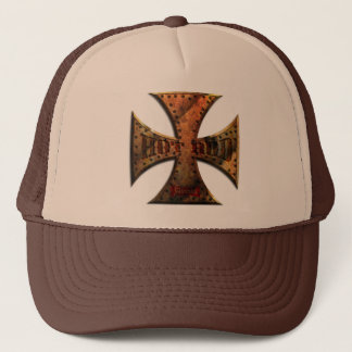RUST-MALT-CROSS-FLAT-001 TRUCKER HAT