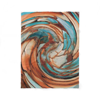 Rust N Blue Abstract Art Fleece Blanket