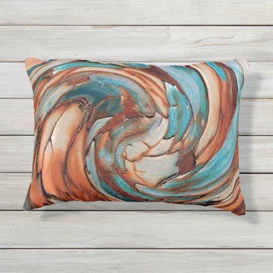Rust N Blue Abstract Art Outdoor Throw Pillow Zazzle Com