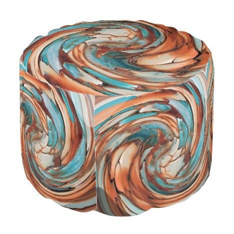 Rust N Blue Abstract Art Round Pouf