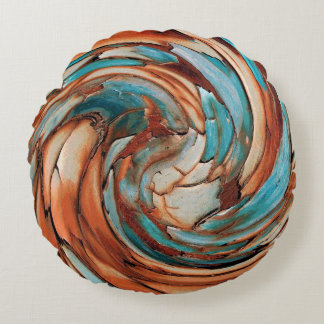 Rust N Blue Abstract Art Round Throw Pillow
