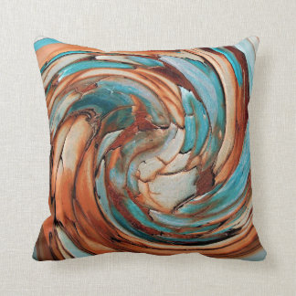 Rust N Blue Abstract Art Throw Pillow