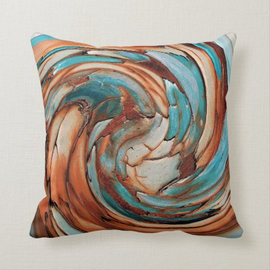 Rust N Blue Abstract Art Throw Pillow Zazzle Com