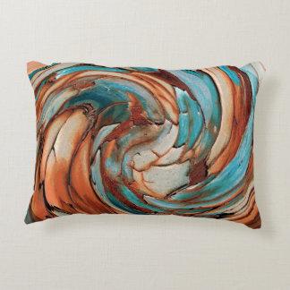 Rust N Blue Abstract Art Throw Pillow
