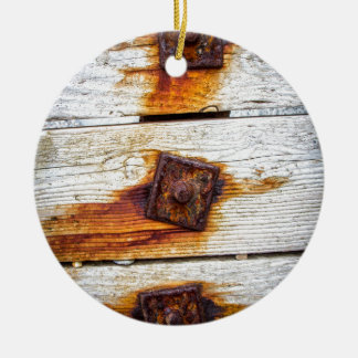 Rust on Wood Ceramic Ornament