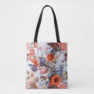 Rust Orange Blue Floral bag mums foxglove neutral