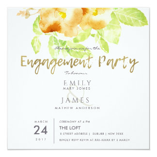 RUST ORANGE INK WATERCOLOUR FLORAL ENGAGEMENT CARD