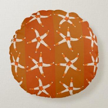 Beach Themed Rust Orange Starfish and Stripes Round Throw Round Pillow