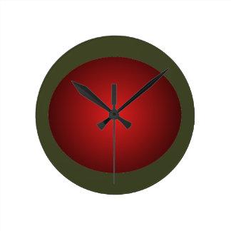 Rust Orangish 3D Design Army Green Ball Clock