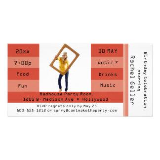 Rust Photo Admission Ticket Birthday Party Invite