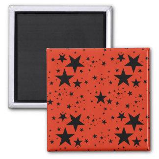 Rust Red and Black Stars pattern Fridge Magnet