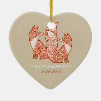 Rust Red and Ivory Foxes Anniversary Ceramic Ornament
