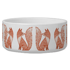Rust Red and Ivory Foxes Bowl