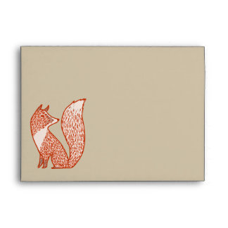 Rust Red and Ivory Foxes Envelope