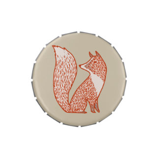 Rust Red and Ivory Foxes Jelly Belly Candy Tins