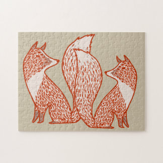 Rust Red and Ivory Foxes Jigsaw Puzzle