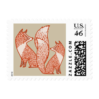Rust Red and Ivory Foxes Postage