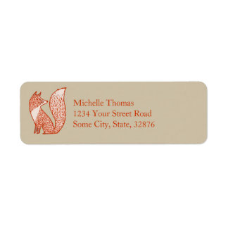 Rust Red and Ivory Foxes Return Address Label