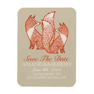 Rust Red and Ivory Foxes Save The Date Rectangular Photo Magnet